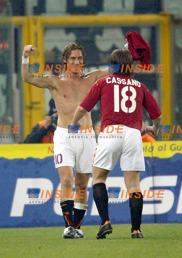 Roma 8/2/2004 Roma Juventus 4-0<br /> Francesco Totti (Roma) celebrates goal of 2-0 for As Roma<br /> Photo Andrea Staccioli Insidefoto