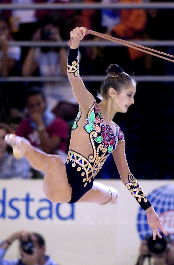October 19, 2001; Madrid, Spain:  IRINA TCHACHINA of Russia performs with rope at 2001 World Championships at Madrid.