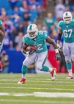 14 September 2014: Miami Dolphins running back Orleans Darkwa scrambles after a reception and an 11 yard gain against the Buffalo Bills in the fourth quarter at Ralph Wilson Stadium in Orchard Park, NY. The Bills defeated the Dolphins 29-10 to win their home opener and start the season with a 2-0 record. Mandatory Credit: Ed Wolfstein Photo *** RAW (NEF) Image File Available ***
