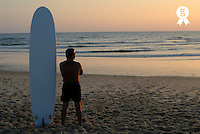 Man standing by surfboard on beach, dusk, rear view (Licence this image exclusively with Getty: http://www.gettyimages.com/detail/200476762-001 )