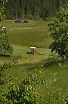 Tractor cutting the meadow grass for cattle fodder. Imst district, Tyrol/Tirol, Austria, Alps.