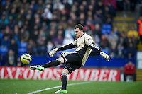 BOLTON, ENGLAND - Saturday, January 26, 2013: Bolton Wanderers' goalkeeper Andy Lonergan in action against Everton during the FA Cup 4th Round match at the Reebok Stadium. (Pic by David Rawcliffe/Propaganda)