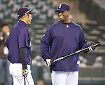 Seattle Mariners Ken Griffey, Jr and Ichiro Suzuki bat before their game against the Oakland Athletics in the opening home game of the season against the Oakland Athletics at SAFECO Field in Seattle April 12, 2010. The Athletics beat the Mariners 4-0. Jim Bryant Photo. &copy;2010. ALL RIGHTS RESERVED.