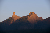 Chimney Rock (left) and Companion Rock (right), at Chimney Rock National Monument, in Chimney Rock State Park, in San Juan National Forest, South West Colorado, USA. The ridge was an ancestral Puebloan site occupied 925-1125 AD by around 2000 Indians. Chimney Rock was made a National Monument in 2012 and is listed on the US National Register of Historic Places and the Colorado State Register of Historic Properties. Picture by Howard Rowe / Manuel Cohen