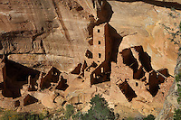 Square Tower House, 13th century, a Native American Puebloan dwelling on the East side of Navajo Canyon, in Mesa Verde National Park, Montezuma County, Colorado, USA. This is the tallest structure in the park with the tower standing at 28 feet, and is made from sandstone blocks, mortar and wooden beams. Mesa Verde is the largest archaeological site in America, with Native Americans inhabiting the area from 7500 BC to 13th century AD. It is listed as a UNESCO World Heritage Site. Picture by Manuel Cohen