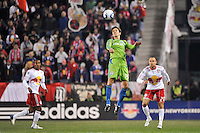 Alvaro Fernandez (15) of the Seattle Sounders goes up for a header. The New York Red Bulls defeated the Seattle Sounders 1-0 during a Major League Soccer (MLS) match at Red Bull Arena in Harrison, NJ, on March 19, 2011.