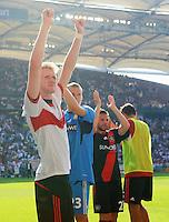 FUSSBALL   1. BUNDESLIGA  SAISON 2011/2012   3. Spieltag     20.08.2011 VfB Stuttgart - Bayer Leverkusen        Jubel nach dem Schlusspfiff, Andre Schuerrle (Bayer 04 Leverkusen,li)
