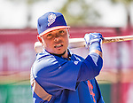13 March 2014: New York Mets catcher Juan Centeno awaits his turn in the batting cage prior to a Spring Training game against the Washington Nationals at Space Coast Stadium in Viera, Florida. The Mets defeated the Nationals 7-5 in Grapefruit League play. Mandatory Credit: Ed Wolfstein Photo *** RAW (NEF) Image File Available ***