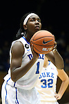 14 November 2013: Duke's Elizabeth Williams. The Duke University Blue Devils played the University of South Carolina Upstate Spartans at Cameron Indoor Stadium in Durham, North Carolina in a 2013-14 NCAA Division I Women's Basketball game. Duke won the game 123-40.