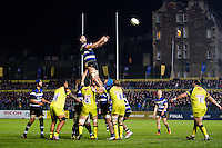 Elliott Stooke of Bath Rugby rises high to win lineout ball. Anglo-Welsh Cup match, between Bath Rugby and Leicester Tigers on November 4, 2016 at the Recreation Ground in Bath, England. Photo by: Patrick Khachfe / Onside Images