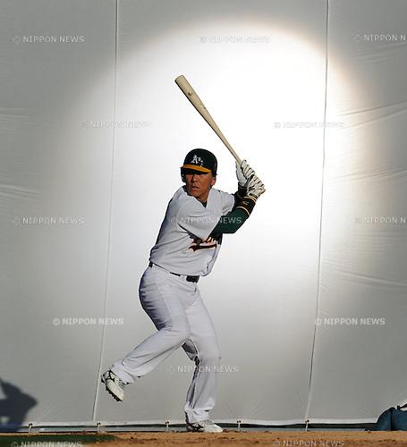 Hideki Matsui (Athletics),  ..FEBRUARY 19, 2011 - MLB : Hideki Matsui of the Oakland Athletics at Papago Park Baseball Complex in Phoenix, Arizona, USA. Hideki Matsui works for Japanese company Komatsu.  (Photo by AFLO)
