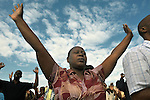 Participants in a Port-au-Prince, Haiti, worship service for survivors of the January 12 earthquake that ravaged the Caribbean nation.