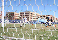 Steve Neumann #18 of Georgetwn University watches a shot go by Chris Bresnahan #0 of Villanova University during a Big East match at North Kehoe Field, Georgetown University on October16 2010 in Washington D.C. Georgetown won 3-1.