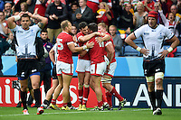 Canada players celebrate DTH Van Der Merwe's try. Rugby World Cup Pool D match between Canada and Romania on October 6, 2015 at Leicester City Stadium in Leicester, England. Photo by: Patrick Khachfe / Onside Images