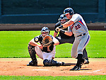 15 July 2010: Aberdeen IronBirds' catcher Austin Rauch at bat against the Vermont Lake Monsters at Centennial Field in Burlington, Vermont. The Lake Monsters rallied in the bottom of the 9th inning to defeat the IronBirds 7-6 notching their league leading 20th win of the 2010 NY Penn League season. Mandatory Credit: Ed Wolfstein Photo