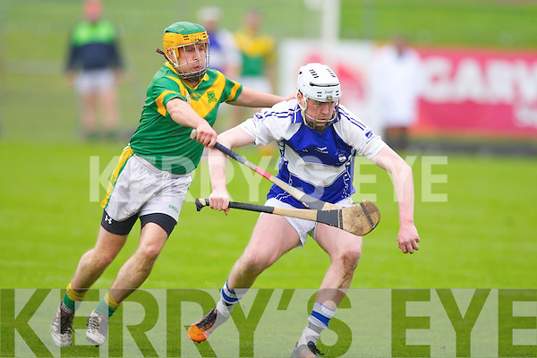 St Brendan's Tim Hanafin and Kilmoyley's Pat Deenihan in action in the division 2 County league final at Austin Stack park, Tralee on Sunday.