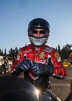 Nov 13, 2016; Pomona, CA, USA; NHRA pro stock motorcycle rider Matt Smith after winning the Auto Club Finals at Auto Club Raceway at Pomona. Mandatory Credit: Mark J. Rebilas-USA TODAY Sports