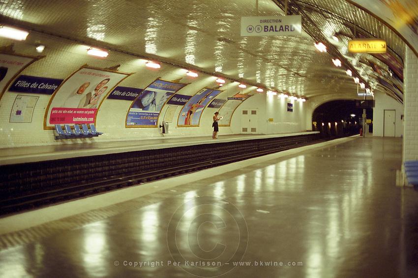 Paris Metro at Filles du Calvaire staition, empty platform. Paris, France.
