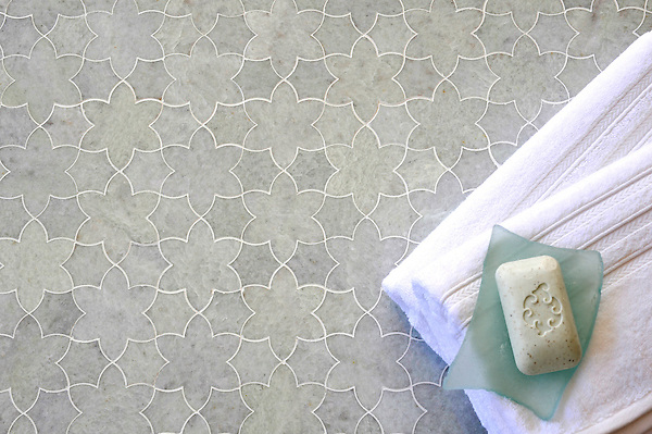 Cadiz, a handmade mosaic shown in polished Ming Green, is part of the Miraflores Collection by Paul Schatz for New Ravenna.<br /> <br /> For pricing samples and design help, click here: http://www.newravenna.com/showrooms/