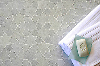 Cadiz, a handmade mosaic shown in polished Ming Green, is part of the Miraflores Collection by Paul Schatz for New Ravenna.<br />
