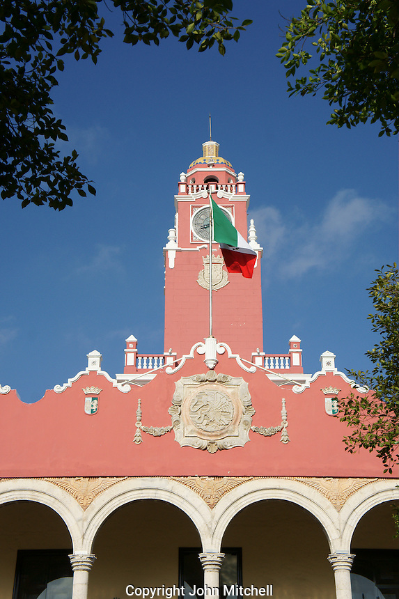 Clock tower of the Palacio Municipal or Municipal Palace in Merida, Yucatan, Mexcio