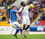 St Johnstone v Inverness Caley Thistle...08.08.15...SPFL..McDiarmid Park, Perth.<br /> Andrea Mutombo and Tam Scobbie<br /> Picture by Graeme Hart.<br /> Copyright Perthshire Picture Agency<br /> Tel: 01738 623350  Mobile: 07990 594431