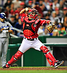 23 April 2010: Washington Nationals' catcher Wil Nieves in action against the Los Angeles Dodgers at Nationals Park in Washington, DC. The Nationals defeated the Dodgers 5-1 in the first game of their 3-game series. Mandatory Credit: Ed Wolfstein Photo