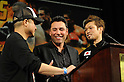 (R-L) Nobuhiro Ishida (JPN), Oscar De La Hoya, APRIL 9, 2011 - Boxing : Nobuhiro Ishida of Japan is congratulated by Oscar De La Hoya after winning the 8R middle weight bout at MGM Grand Garden Arena in Las Vegas, Nevada, USA. (Photo by Naoki Fukuda/AFLO)