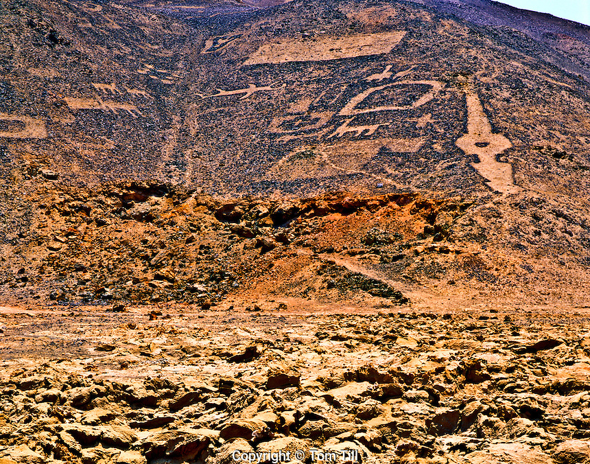 Geoglyphs, Rock Sculptures of Prehistoric Origin, Atacama Desert, Chile, South America