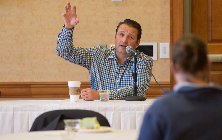 Winston Breeden III, one of the 2015 Konneker Medal recipients, speaks during a panel discussion for the recipients on February 11, 2016 in Baker Center. Photo by Emily Matthews