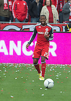 20 October 2012: Toronto FC defender Jeremy Hall #25 in action during an MLS game between the Montreal Impact and Toronto FC at BMO Field in Toronto, Ontario..The game ended in a 0-0 draw..