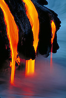 Kilauea Volcano - lava pouring into Pacific Ocean. Hawaii, Volcanoes National Park.