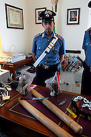 Rome September 20 2007.The carabinieri of St. Basilio show of objects that have been seized to a group of Italians  that have attacked the Rom's camp  Ponte Mammolo inhabited by Romanian Romani