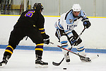 12/02/2011 - Malden, Mass. - Tufts forward Tyler Voigt, A15, squares up against a defender in Tufts 4-1 loss to Williams at Valley Forum II on Dec. 2, 2011. (Kelvin Ma/Tufts University)