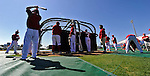 12 March 2011: Members of the Washington Nationals congregate around the batting cage prior to a Spring Training game against the New York Yankees at Space Coast Stadium in Viera, Florida. The Nationals edged out the Yankees 6-5 in Grapefruit League action. Mandatory Credit: Ed Wolfstein Photo