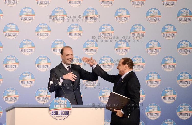 Roma, 25 Gennaio 2013.Teatro Capranica.Presentazione dei candidati del Pdl per le elezioni 2013.Silvio Berlusconi e Angelino Alfano