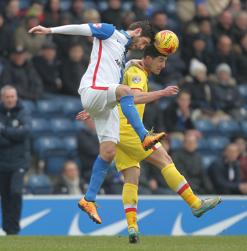 Blackburn Rovers Danny Graham jumps with Milton Keynes Dons Darren Potter<br /> <br /> Photographer Mick Walker/CameraSport<br /> <br /> Football - The Football League Sky Bet Championship - Blackburn Rovers v Milton Keynes Dons - Saturday 27th February 2016 - Ewood Park - Blackburn<br /> <br /> &copy; CameraSport - 43 Linden Ave. Countesthorpe. Leicester. England. LE8 5PG - Tel: +44 (0) 116 277 4147 - admin@camerasport.com - www.camerasport.com