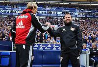 FUSSBALL   1. BUNDESLIGA   SAISON 2012/2013    29. SPIELTAG FC Schalke 04 - Bayer 04 Leverkusen                        13.04.2013 Das Leverkusener Trainergespann Sami Hyypiae (li) und Robert Lewandowski (re, beide Bayer 04 Leverkusen)