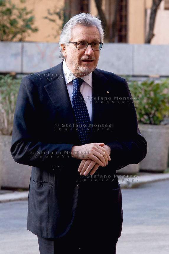 Roma, 12 Febbraio 2015<br /> Il presidente della Repubblica Sergio  Mattarella, alla commemorazione di Vittorio Bachelet, nella facolt&agrave; di Scienze Politiche, Universit&agrave; La Sapienza, 35 anni dopo il suo omicidio per mano delle Brigate Rosse. Carlo Musto D'Amore, Direttore Amministrativo della Universit&agrave; La Sapienza.<br /> Rome, February 12, 2015<br /> The President of the Republic Sergio Mattarella, the commemoration of Vittorio Bachelet, in the Faculty of Political Science, University La Sapienza, 35 years after his murder at the hands of the Red Brigades. Carlo Musto D'Amore,Administrative Director of the University La Sapienza.
