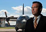 L-3 Communications Spar Aerospace president, Patrice Pelletier, with C-130 Hercules aircraft on Wednesday July 27, 2005, at the Edmonton International Airport, for Executive Decision..John Ulan/Epic Photography