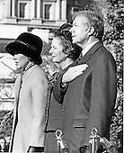 "Washington, DC - (FILE) -- Prime Minister Margaret Thatcher of the United Kingdom, center, is welcomed to the White House in Washington, D.C. by first lady Roslyn Carter, left, and United States President Jimmy Carter, right, on Monday,December 17, 1979. It was Mrs. Thatcher's first trip to the United States as Prime Minister..Credit: Benjamin E. ""Gene"" Forte - CNP"