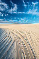 Dune patterns and sky, Lencois Maranhenses National Park, Brazil, Atlantic Ocean