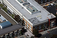 aerial photograph rooftop QR Code, Facebook Headquarters, 1 Hacker Way, Menlo Park, San Mateo County, California