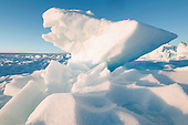 Surface upheavals on the summer Greenland ice cap.