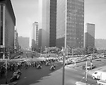 Pittsburgh PA:  Large Civil Rights demonstrations along Liberty Avenue in Pittsburgh August 26th 1969. The large crowd came from a rally in Point State Park heading for Grant Street.  Brady Stewart Jr took the photograph from Brady Stewart Studio offices; 2nd floor of the Empire Building (next to the Jenkins Arcade).