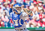 31 May 2014: Texas Rangers catcher Robinson Chirinos in action against the Washington Nationals at Nationals Park in Washington, DC. The Nationals defeated the Rangers 10-2, notching a second win of their 3-game inter-league series. Mandatory Credit: Ed Wolfstein Photo *** RAW (NEF) Image File Available ***