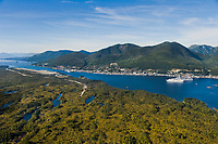 Cruise ship in Tongass Narrows and the town of Ketchikan, southeast, Alaska.