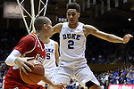 30 October 2015: Duke's Chase Jeter (2) guards Florida Southern's Dylan Travis (left). The Duke University Blue Devils hosted the Florida Southern College Moccasins at Cameron Indoor Stadium in Durham, North Carolina in a 2015-16 NCAA Men's Basketball Exhibition game. Duke won the game 112-68.