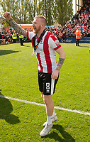 Lincoln City's Alan Power celebrates promotion<br /> <br /> Photographer Andrew Vaughan/CameraSport<br /> <br /> Vanarama National League - Lincoln City v Macclesfield Town - Saturday 22nd April 2017 - Sincil Bank - Lincoln<br /> <br /> World Copyright &copy; 2017 CameraSport. All rights reserved. 43 Linden Ave. Countesthorpe. Leicester. England. LE8 5PG - Tel: +44 (0) 116 277 4147 - admin@camerasport.com - www.camerasport.com