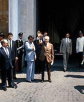 Sandro Pertini  (Partito Socialista Italiano) greets the people from the Quirinale  1980.(1896-1990).Presidente della Repubblica Italiana dal  Luglio 1978 al 29 Giugno 1985....